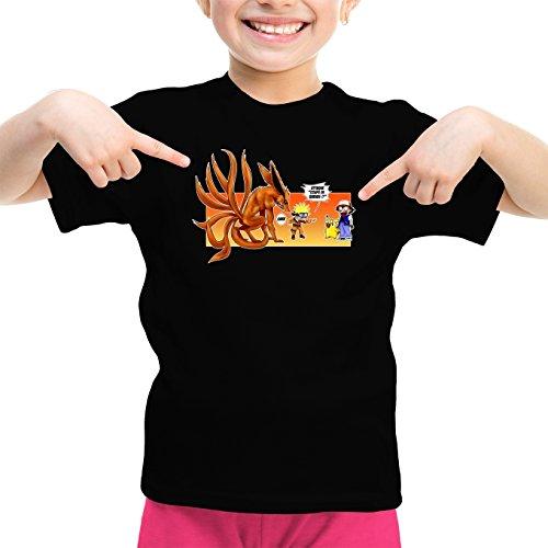 T-Shirt Enfant Fille Noir Naruto - Pokémon parodique Naruto et Kyubi X Sasha et Pikachu : Un Nouveau dresseur. (Parodie Naruto - Pokémon)