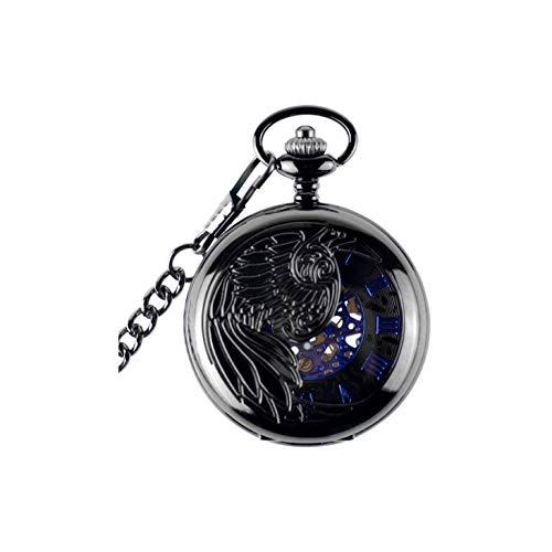 FGH QPLKKMOI Dial de la Vendimia del pájaro de Phoenix Hollow Mini Reloj de Bolsillo Colgante de Cuarzo de la Cadena, Collar de Bolsillo Reloj de Regalo Masculino