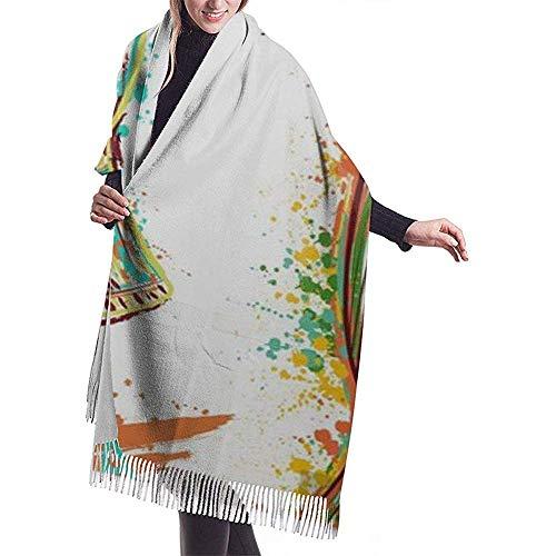 Cathy Afrikaanse trommel Tam en spatter in de aquarel-soort-kleurrijke handgetekende sjaalverpakking, winterwarme sjaal-dop.