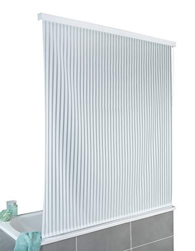 WENKO Duschrollo 128 x 240 cm - schnelltrocknendes Rollo für Dusche und Badewanne, wasserdicht & pflegeleicht, Aluminium, 132 x 240 x 5 cm, Weiß