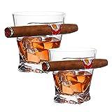 YXXJ - Portavasos para cigarrillos de cristal, diseño de Whisky, especialmente diseñado para los amantes de los puros, Navidad, Año Nuevo, Acción de Gracias, regalo de cumpleaños, 2 unidades