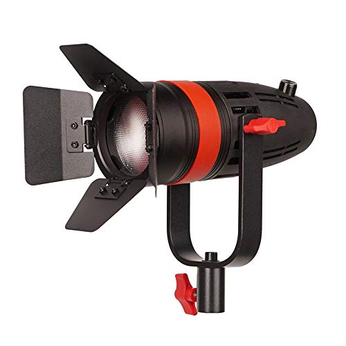 CAME-TV Boltzen F-55W COB Fresnel Focusable Led Video Light, High Output 55W Daylight 5600K CRI96+ TLCI97+Dimmable 0%-100% Dual Power Supply W/Filter Set, Removable Barn-Door, Carry Bag