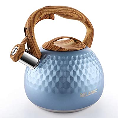 Tea Kettle, 2.7 Quart BELANKO Teapot Whistling Kettle with Wood Pattern Handle Loud Whistle, Food Grade Stainless Steel Tea Pot for Stovetops Induction Diamond Design Water Kettle - Royal Blue