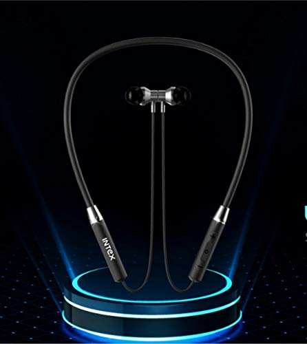 Intex Bt Musique Flexi Wireless Bluetooth 5.0 Neckband Earphones with Mic. Bluetooth Headset Wireless with Stereo Sound, Booming Bass, Long Battery Life Black