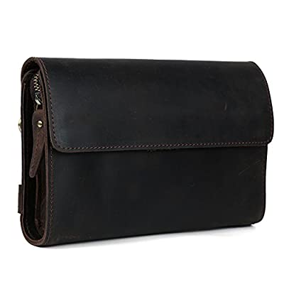 Tiding Men's Retro Genuine Cowhide Crazy Horse Leather Vintage Clutches Handbag 4062