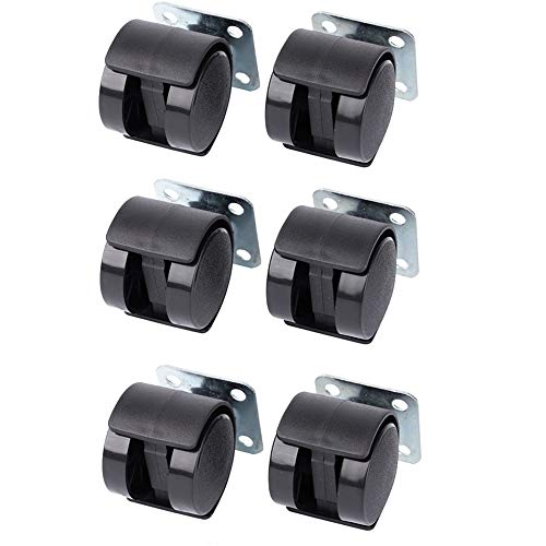Limeow Möbel Lenkrollen Möbelrolle Hartbodenrollen Ersatzrollen Ideal für Leichte bis mittelschwere Möbel bzw Geeignet für Unempfindliche Böden wie Teppich inkl. Montageplatte Schwarz 6 Pack