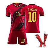 Enfants Football Sportswear Costumes d'été,Maillot Domicile de la Coupe d'europe 2020 Belgique n ° 10 n ° 9 n ° 7, Uniforme d'équipe de Football Adulte personnalisé-No.10-24