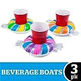 Flotadores posavasos hinchables para piscina 03 piezas - Caramelos