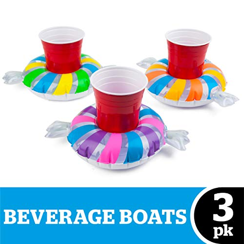 BigMouth Inc. Inflatable Pool Cupholder Floats, 3-Pack (Candy)