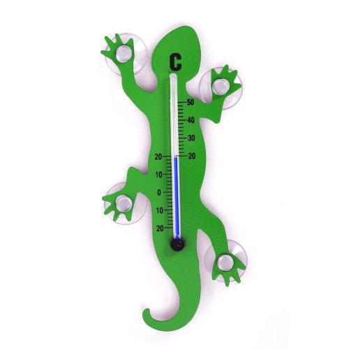 HAB & GUT - TG001 - Verde - Termometro da Finestra in Metallo Geco, 14 cm con 4 Ventose potenti per Interni o Esterni