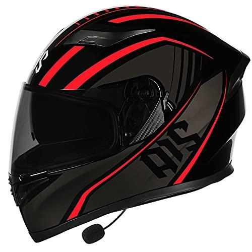 Bluetooth Integrado Casco de Moto Modular con Doble Visera a Prueba de Viento Cascos de Motocicleta ECE/DOT Homologado para Scooter Mujer Hombre Adultos D,XXXL=64~65CM