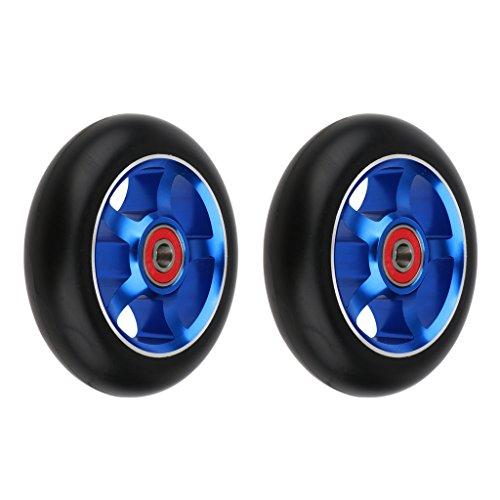 chiwanji 2 Ruedas de Scooter de Acrobacias de 100 Mm / 3,9 Pulgadas con Cojinetes Y Bujes - Azul