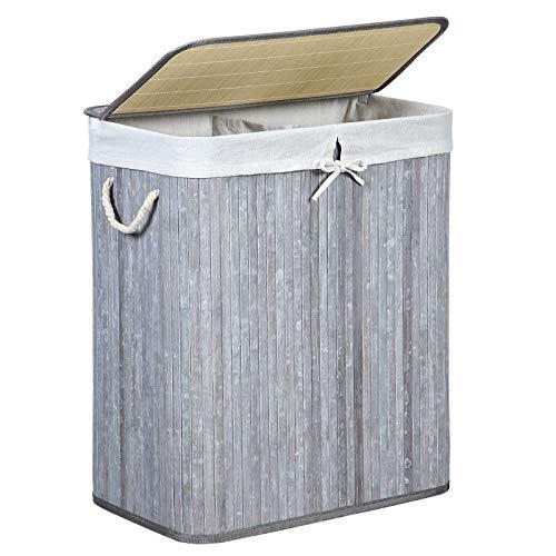 SONGMICS Kosz na pranie z bambusa, kosz na pranie z 2 przegródkami, kosz do sortowania prania z pokrywką i wyjmowanym workiem na pranie, uchwyty do noszenia z bawełny, pojemnik na pranie 100 l, retro, szary LCB74GW
