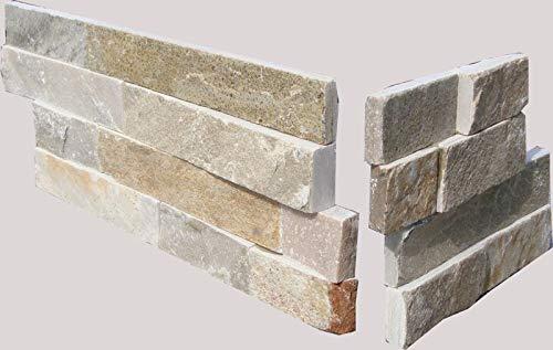 Brickstones, Wandverblender, Mauerverblender Naturstein Ecke passend zu 10x40 cm Quarzit beige bunt, 1 Karton = 12 Ecken