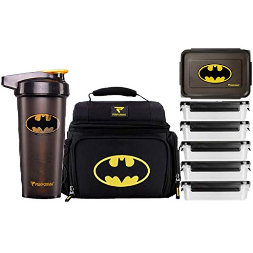 PERFORMA Meal Prep Bag/Shaker Bundle (Batman) - Easy to Use 6 Meal Prep Kit, Spacious, Organized Matrix, and Durable To Accommodate Your Daily Meal & 28oz ACTIV Shaker Bottle