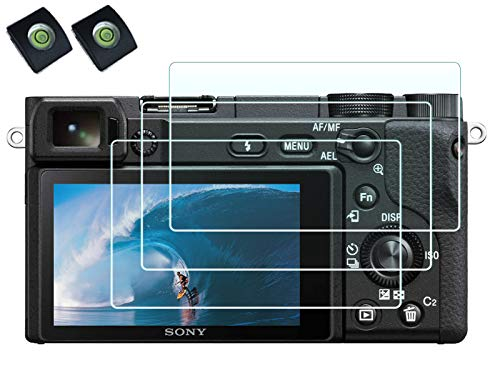Tempered Glass Screen Protector for Sony Alpha A6600 A6300 A6400 A6000 A5000 NEX-3 NEX-5 NEX-6 NEX-7 Camera with Hot Shoe Cover,0.3mm High Definition 9H Hardness Optical LCD Premium Glass Protective Cover (NOT for A6500/A5100)[2+3 Pack]