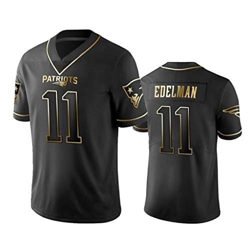 Herren Kurzarm-Fußballuniform, 11 New England Patriots Julian Edelman American Football Trikot T-Shirt Schwarz Gold Edition (S-3XL)-XXXL