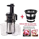 Stainless Steel 200W Slow Juicer Fruit and Vegetable Juice Extractor Compact Cold Press Juicer Machine,With Sorbet Strainer,China,UK,220-240V 50 60Hz