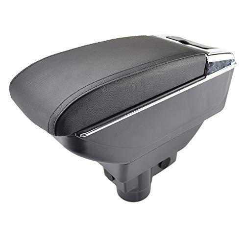 Doppio strato in pelle nera bracciolo per Corsa D 2006 - 2014 centro console Storage box bracciolo