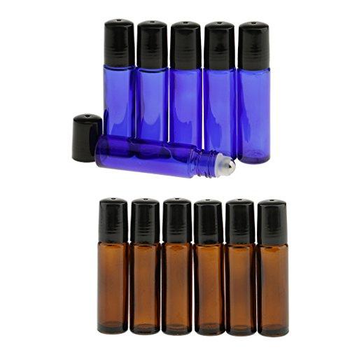 MagiDeal 12pcs 10ml Bouteille Vide en Verre avec Bille en Acier pour Huile Essence Flacon Rechargeble et Réutilisable pour Liquide Maquillage Cosmétique -- Pour Voyage et Déplacement
