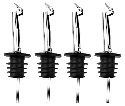 Wellehomi Flaschenausgießer, 4 Stück Weinausgießer, Ausguss für Wein Schnaps Olivenöl Kaffee Sirup Essig Flaschen Kunststoffkorken Öl-Ausgießer ideal für Cocktails, Partys, Shots und Bars