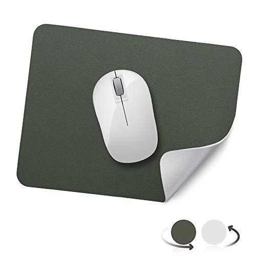 AtailorBird Mauspad, Office Mauspad(270 * 210 * 2mm), rutschfeste Mousepad doppelte Farbe wasserdicht PU Leder Matte für PC, Computer und Laptop - Grün und Grau