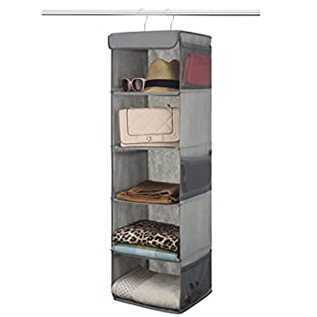Zober 5 Shelf Hanging Closet Organizer Space Saver Roomy Breathable Hanging Shelves With  6  Side Accessories Pockets And 2 Sturdy Hooks For Clothes Storage And Shoes Etc 12 x 11 ½ x 42 In Gray
