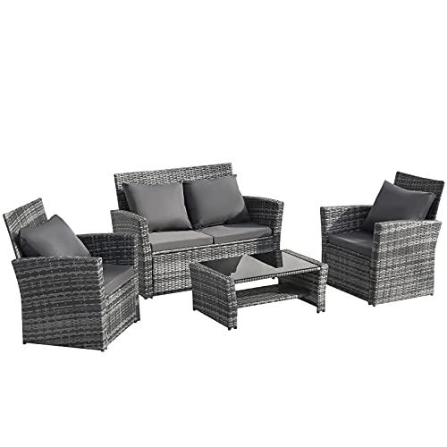æ— Muebles de jardín de ratán, 4 piezas de mimbre junto a la piscina silla sofá con mesa de cristal y cojín impermeable, 3 sillas y 1 mesa de cristal
