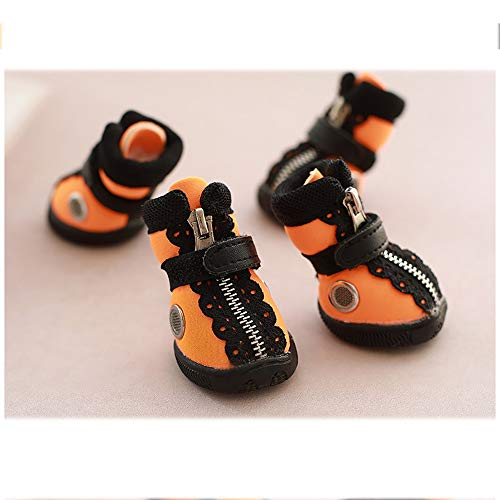 FADJIKKP 4 Pack, Hundebreathable Haustier-Schuhe, justierbare magischer Griff und Reißverschluss, wasserdichtes Gewebe, geeignet for kleine Hunde wie Teddy (Color : B, Size : 4)