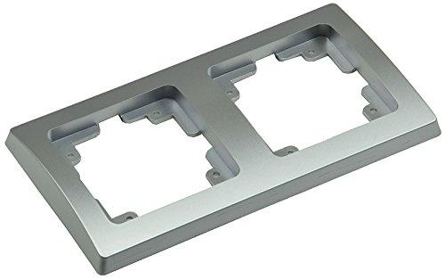 Delphi 2-fach Rahmen Doppel Rahmen Wandabdeckung Silber Grau