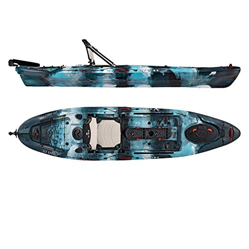 Vibe Kayaks Sea Ghost 110 11 Foot Angler Sit On Top Fishing Kayak with Adjustable Hero Comfort Seat & Transducer Port + Rod Holders + Storage + Rudder System Included (Blue Camo)