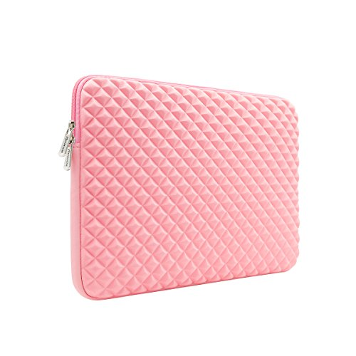 RAINYEAR 14 Inch Laptop Sleeve Diamond Foam Shock Resistant Neoprene Padded Case Fluffy Lining Zipper Cover Bag Compatible with 14' Notebook Computer Chromebook Tablet Ultrabook(Pink)