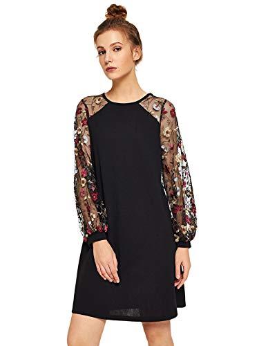 DIDK Vestido túnica de malla de manga larga para mujer, Floral Black, XXL