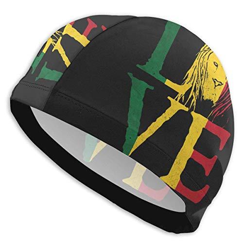 HFHY Rasta Lion Jamaican Reggae Love Lycra Swim Cap Comfortable Fit Swimming Bonnets Bathing and Shower Hair Cover Protection de l'oreille pour les cheveux longs et les cheveux épais et les cheveux bo
