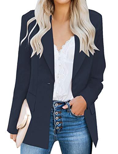 luvamia Women's Long Blazer Jacket Casual Notched Lapel One Button Work Office Blazer Jacket Suit Navy Blue Size Medium (Fits US 8-10)