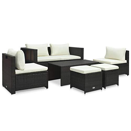 pedkit Silla Ratan Exterior Conjuntos Sofa Exterior Set Muebles de jardín 6 Piezas y Cojines ratán sintético marrón