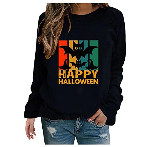 Dasongff Sweatshirts Femme sans Capuche Pas Cher pour Halloween, Sweatshirts Imprimés Chauve Souris Col Rond, T-Shirts à Manches Longues Automne Hiver