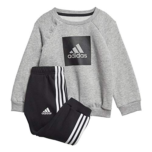 adidas I 3Slogo Jog FL, Tuta Unisex Bimbi, Top:Medium Grey Heather/Black Bottom:Black/White, 2-3Y