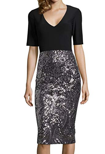 Betsy & Adam Womens Sequined Midi Cocktail Dress Black 8