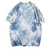 Camiseta De Verano para Hombre, Camiseta De Manga Corta, Cuello Redondo, Moda Juvenil, Camiseta Tie-Dye