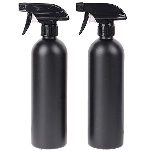 PEPAXON Plastic Spray Bottle Matte Black Bottles 500ml Empty Spray Bottle Refillable Container for Hair/Cleaning Solutions/Essential Oils/ Plants Pack of 2 17OZ
