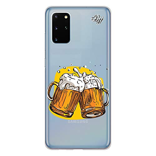 BJJ SHOP Custodia Trasparente Slim per [ Samsung Galaxy S20 Plus ], Cover in Silicone Flessibile TPU, Design: Boccali di Birra, Salute
