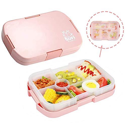 Bento Box Kinder Brotdose, Lunchbox mit 6 Unterteilten Fächern Robust und Auslaufsicher Brotzeitbox 1000ML Jausenbox Mikrowellen und Spülmaschinen, Brotbox für Kindergarten, Schule und Picknick