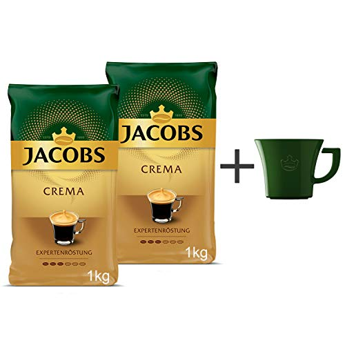 Jacobs Kaffeebohnen Expertenröstung Crema Pack, 2er Pack (2x 1kg Bohnenkaffee), Gratis geschenk: Jacobs kaffeebecher