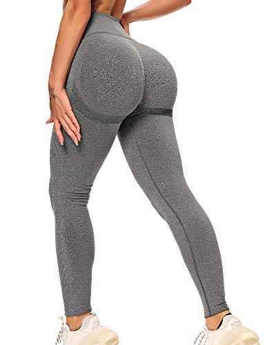 STARBILD Leggings Mallas Mujer sin Costuras Push up Pantalones Largos de Compresión Cintura Alta Elástico y Transpirable para Yoga Gym Fitness Running #Booty-Gris Oscuro M