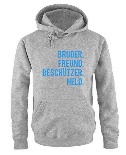 Comedy Shirts – Bruder – Freund. – Held. – Sweat à capuche – Capuche – Poche kangourou – Manches longues, imprimé - Gris - XXXXXL