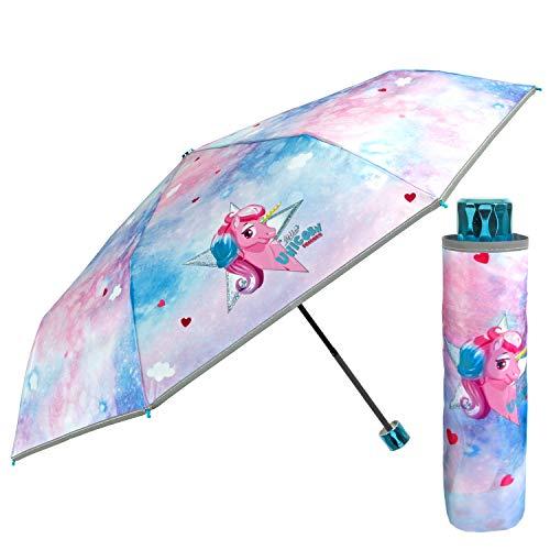 Paraguas Plegable Niña Coloreado Apertura Manual - Paraguas Unicornio para Niñas Resistente Antiviento - Sombrilla Reflectante Unicornios Infantil 5 6 7 Años - Diámetro 91 cm PERLETTI (Rosa y