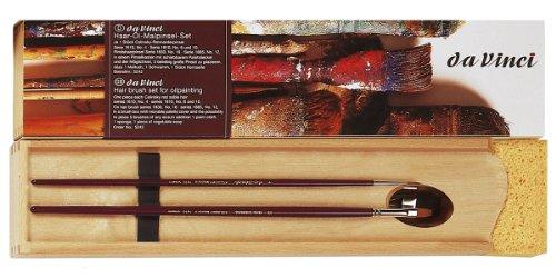 Da Vinci Series 5242 - Juego de 5 Pinceles para Pintura al óleo con Paleta de Mezcla de Madera, Marrón/Rojo, 30 x 30 x 30 cm