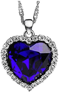Titanic Ocean Heart Pendant Necklace For Women Crystal Rhinestone