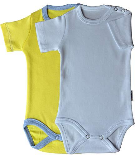 Princess Taufkleid Unisex Baby Kurzarm Body 2er Pack Weiss & gelb/grau Grösse 86 Body aus Baumwolle Druckknöpfe